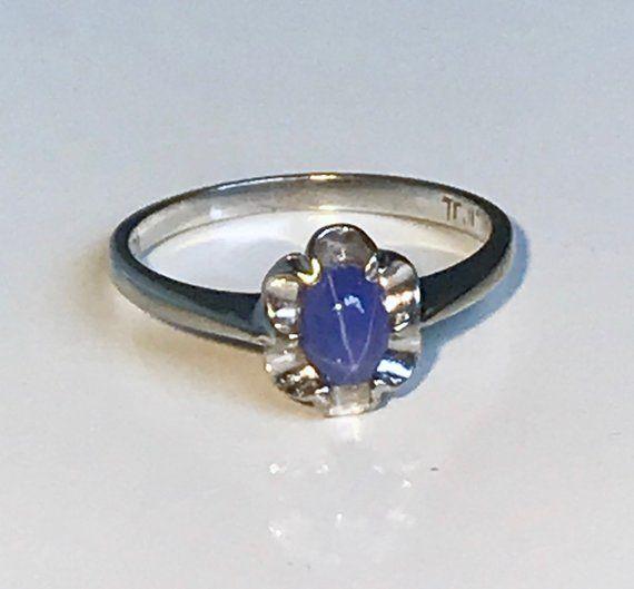 10k Plum White Gold Vintage Violet Blue Star Sapphire Ring Blue Star Sapphire Ring Star Sapphire Ring Blue Star Sapphire