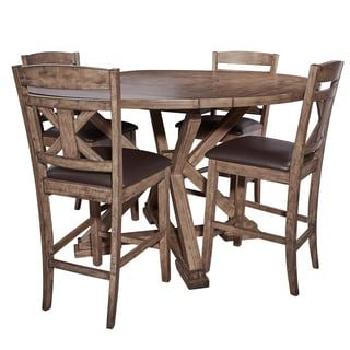 Cohen Weathered Oak 5-Piece Counter Height Dining Set | Overstock.com Shopping - The Best Deals on Pub Sets