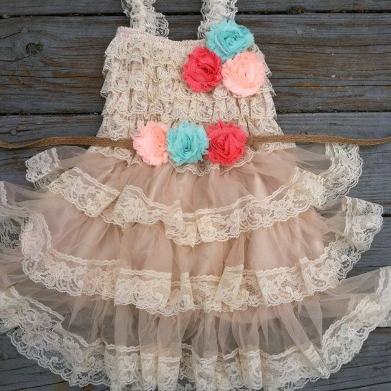 Rustic Flower Girl Dress Lace by TheDaintyDaisyNJ on Etsy, $48.50 This is my favorite of all of them