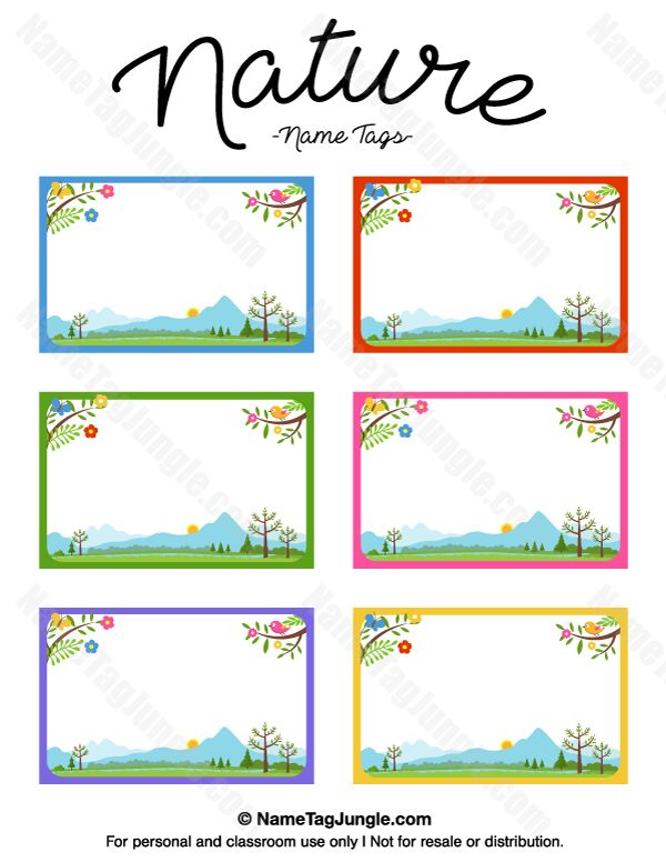 Free printable nature name tags. The template can also be used for creating items like labels and place cards. Download the PDF at http://nametagjungle.com/name-tag/nature/
