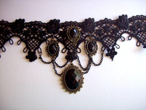 Goth Black Lace Choker Necklace