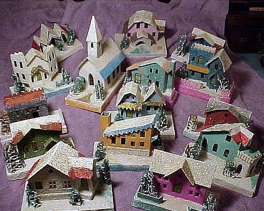 1950s Christmas village putz houses.
