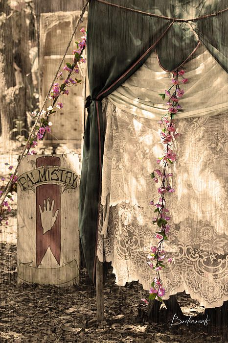 """Fortune Teller's tent """"Palmistry"""" at the Renaissance Festival. Antiqued HDR photography."""