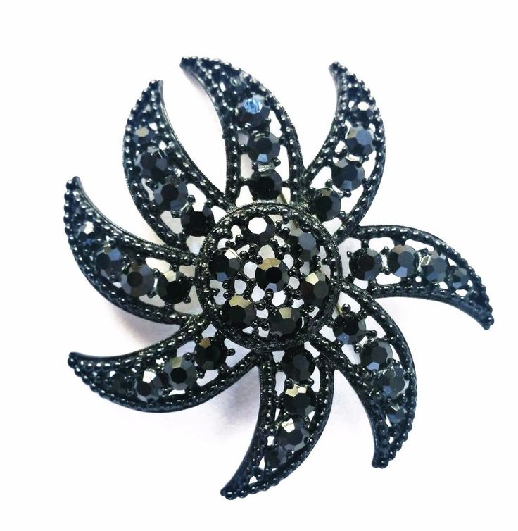 Vintage Large Signed Weiss Black Rhinestone Japanned Starfish Brooch Pin #Weiss #Jappaned