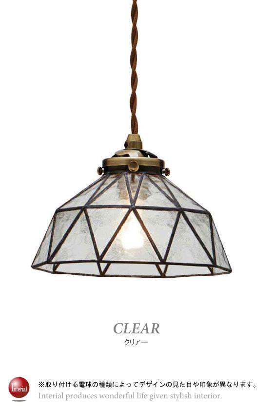 ステンドガラスデザイン・半円ペンダントライト(1灯)LED&ECO球対応