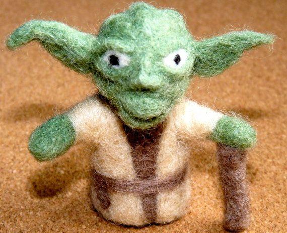 felted yoda with walking stick by WoodlandFeltCrafts on Etsy, €20.00
