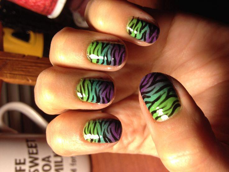 zebra & ombre nails
