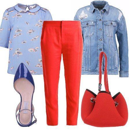 Ho+pensato+questo+look+per+una+ragazza+creativa+che+ama+l'arte+e+il+disegno.+Ho+scelto+per+lei:+camicia+stampata+da+abbinare+al+giubbino+di+jeans,+sotto+indossiamo+dei+pantaloni+corallo.+Gli+accessori+sono+deliziosi:+ballerine+con+cinturino+e+borsa.