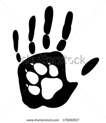 Dog - man's best friend. Handprint human and animal paw print. Vector illustration. Isolated on white background - stock vector
