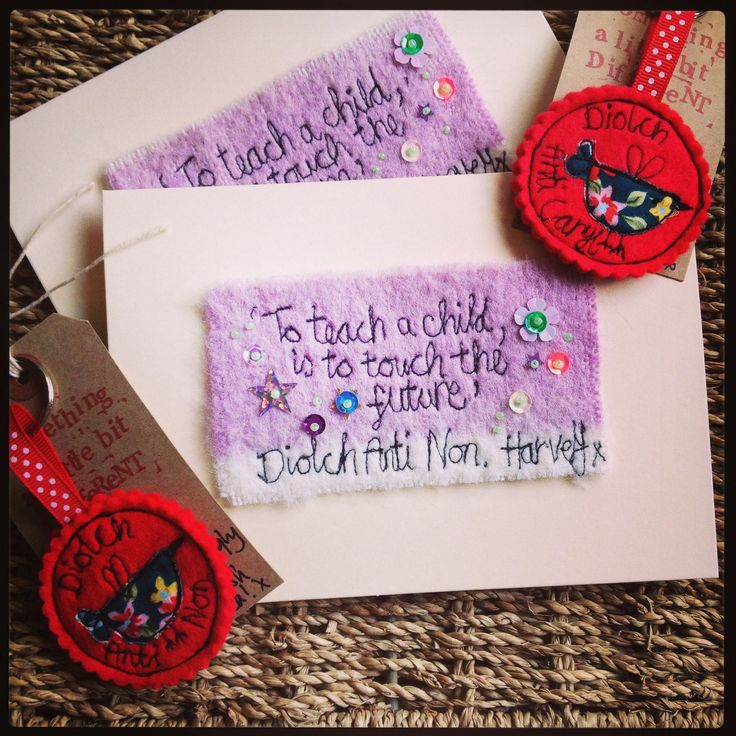 A couple of 'Thank you' Teacher Cloudy Rabbit embroidered keepsake cards and matching key rings. These make a perfect little gift for the end of school time. #thankyou #freehandmachineembroidery #greetingscard #card  Order yours from www.fb.com/somethingalittlebitdiffeRnt