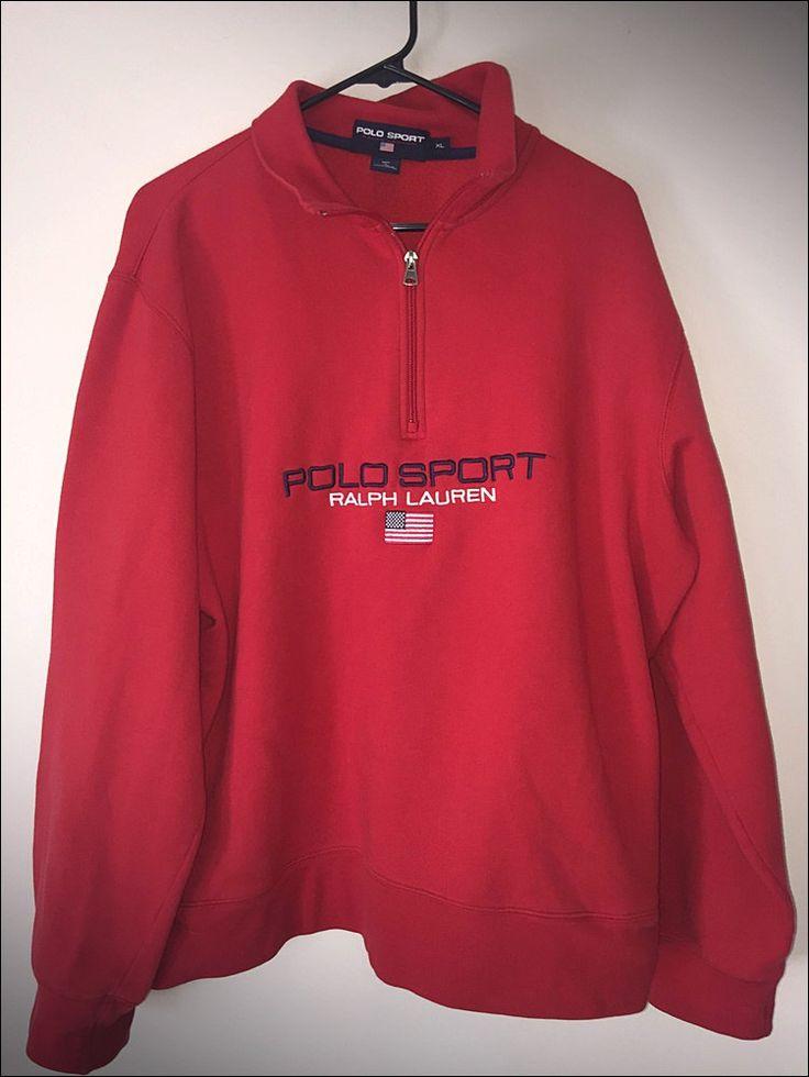 Vintage 90's Polo Sport Ralph Lauren Spell Out Half Zip Crewneck Sweatshirt - XL by JourneymanVintage on Etsy