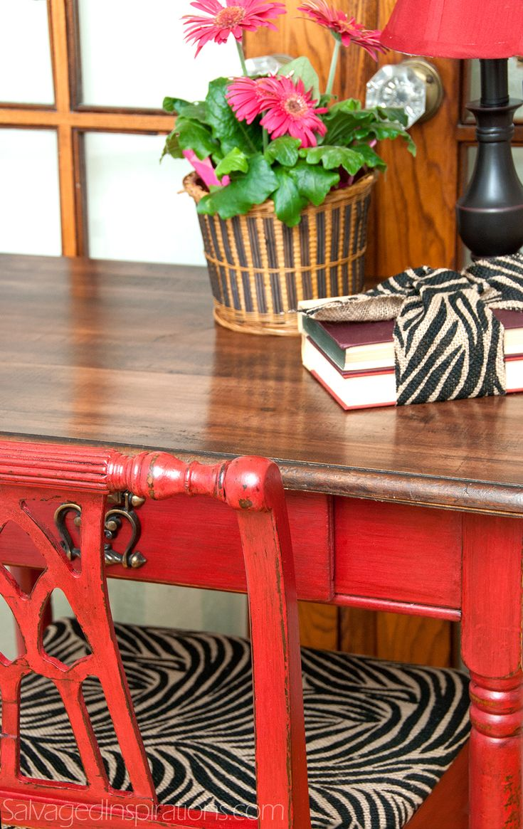 Funky painted furniture ideas - Salvaged Inspirations Road Rescued Writing Desk Painted W Missmustardseeds Tricycle Red And Glazed In General Paint Furniturefunky