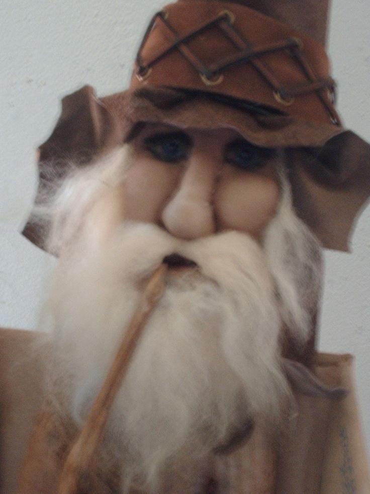Zeke..soft sculpture, driftwood pipe