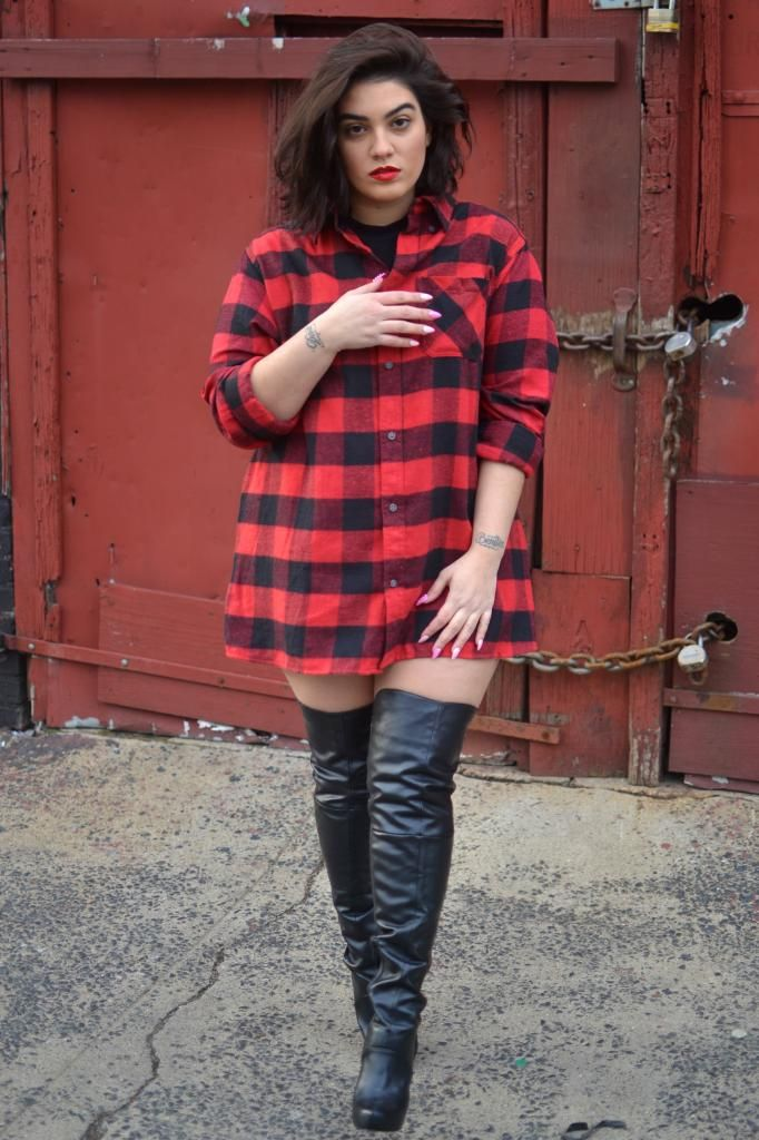 Boudoir session - thigh high boots [love a big flannel shirt over leggings. haven't tried thigh-high boots yet. lol. jh]