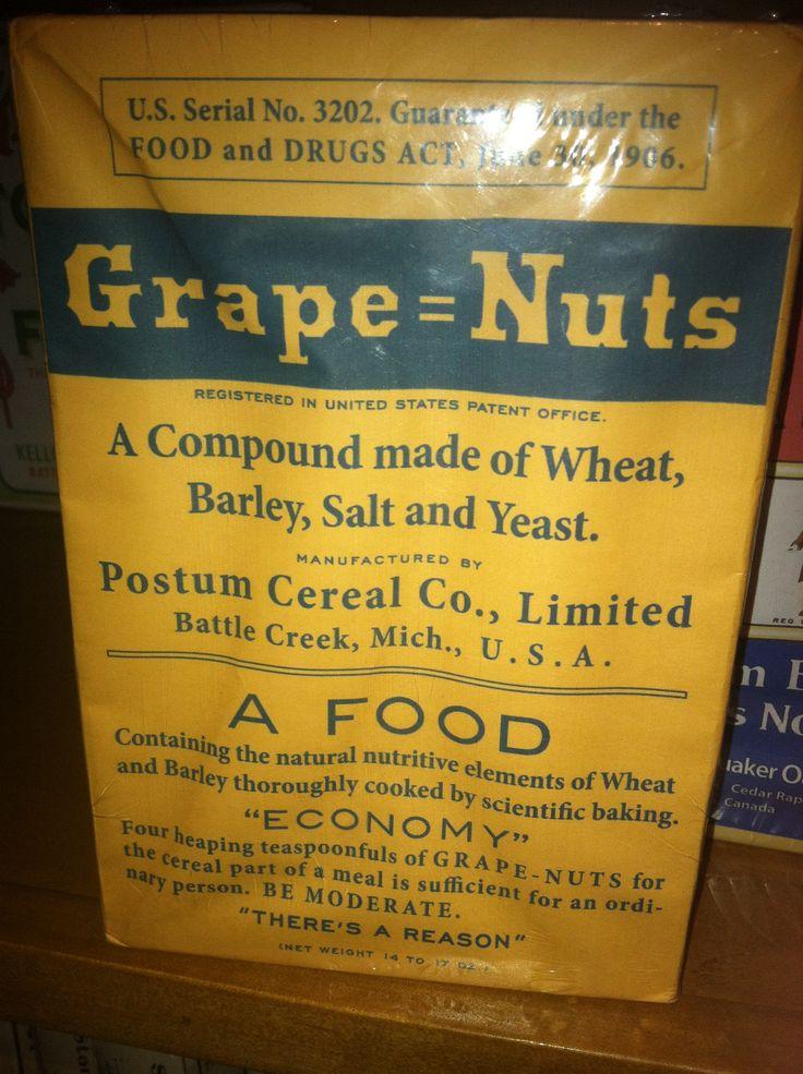 Grape Nuts Cereal Box C 1920s Retro Pinterest