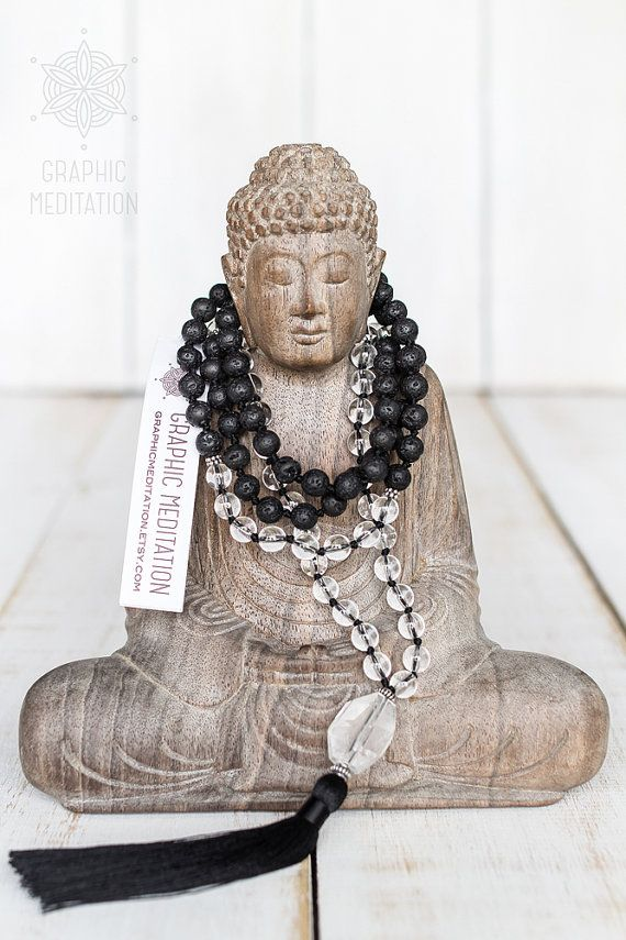 Crystal and lava mala beads, Hand knotted mala necklace with crystal quartz, volcanic rock, 108 meditation beads, Black lava mala beads by GraphicMeditation