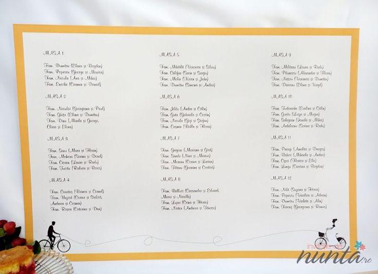 Lista cu asezarea invitatilor la mese Orange Retro Love ce are ilustrati doi miri pe biciclete.