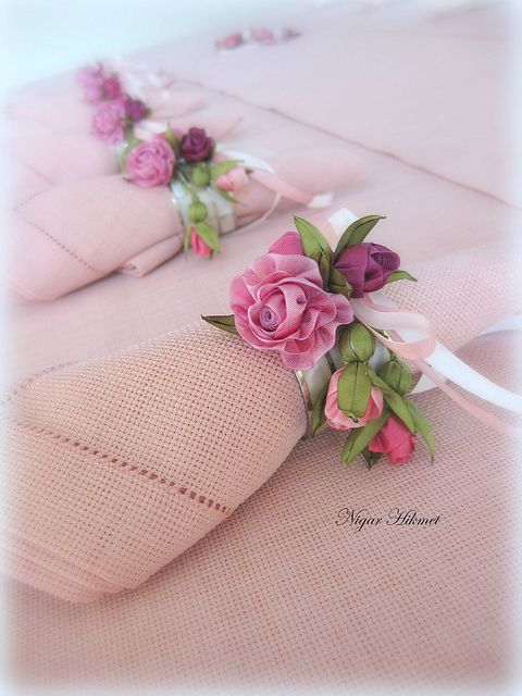 napkin and napkin holder by nigarhikmet, via Flickr, ribbon flowers