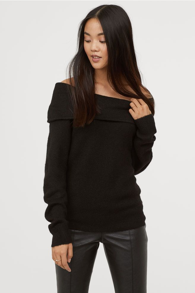 Off-the-shoulder Sweater - Black - Ladies  bd905aa60