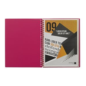 J.Burrows Display Book A4 20 Pocket Refillable Pink