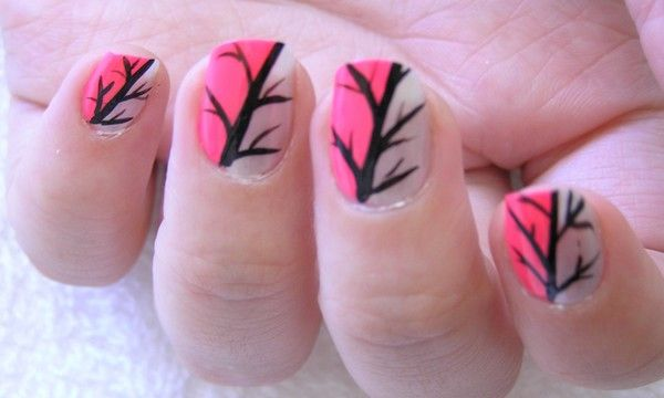 DONE: Twilight Tree nail design (clear then pink, then black with brush)