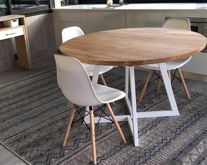 Pittura Uv Rotondo Tavolo Da Pranzo Scandinavia Gambe In Legno Etsy In 2020 Dining Table Round Dining Table Live Edge Dining Table