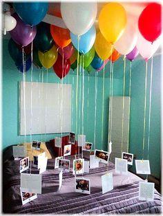 Fotografías de vosotros dos y globos con helio.                              …