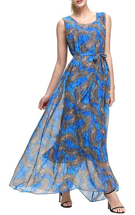 f73ec250a4 Wantdo Women s Maxi Long Dress Bohemian Sleeveless Peacock Printed Dress(Dark  Blue