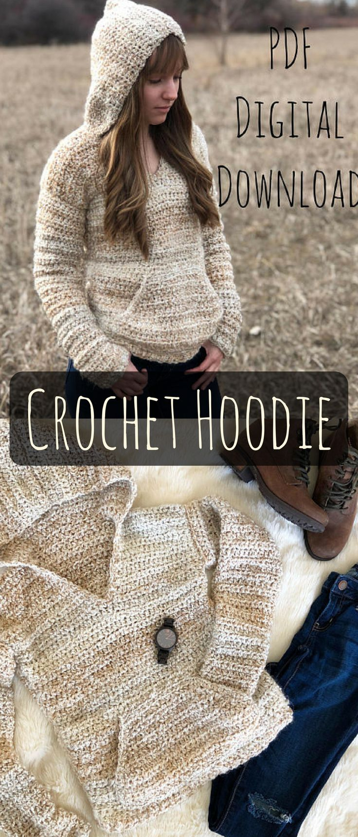 The butterbeer pullover. This crochet hoodie looks so cozy. #crochethoodie #ad #pattern #pullover