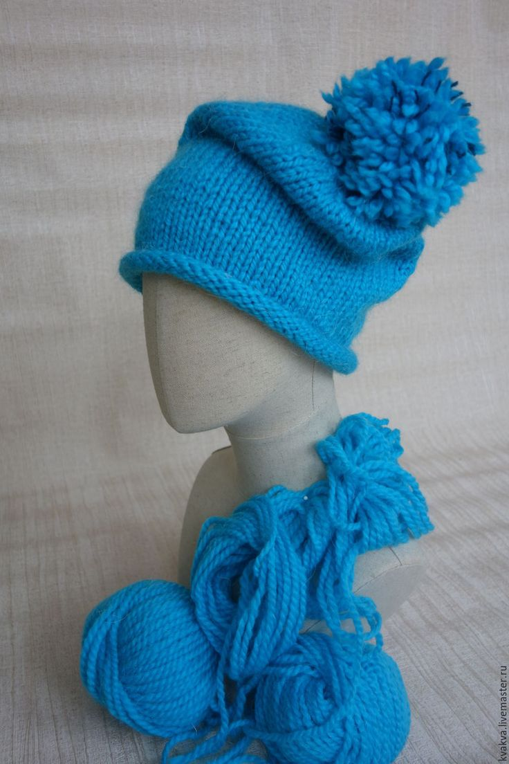 Купить Шапка с помпоном - шапка вязаная, шапка, помпон, зима 2017, ручная работа, гном