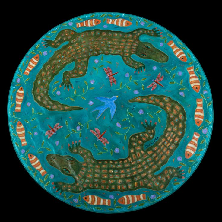 """""""Two Alligators and a Bluebird"""" floorcloth."""