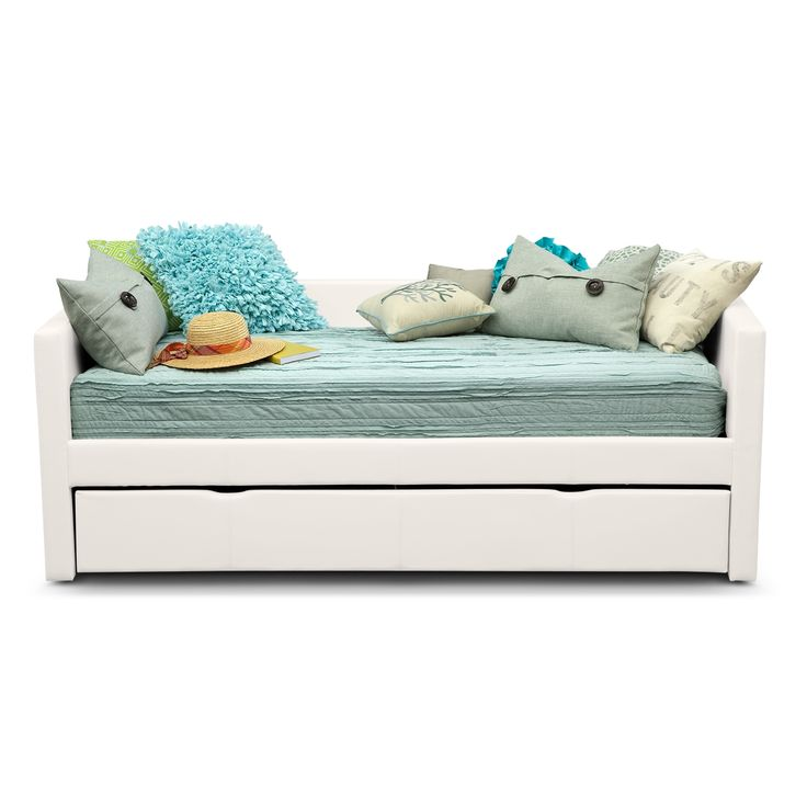 Perfect Match. Mixing sleepover fun with grown-up fashion, the Carey White Full daybed is a match made in heaven for any kid. The pull-out trundle provides sleeping or storage space for optimum convenience, and the low arms and back make for a clean, stylish look. The sleek, white faux leather with designer accent stitching is comfortable and hip at the same time. (Mattresses and accessories are not included.)