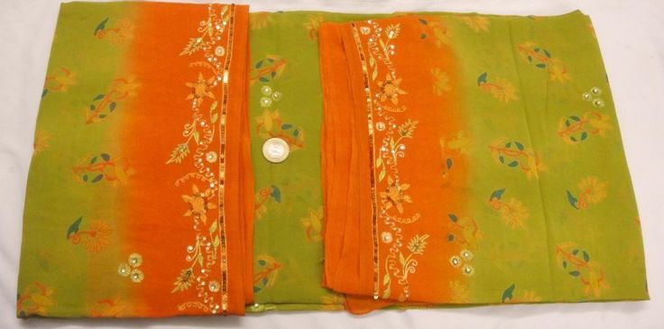 VINTAGE EMBROIDERED PURE CREPE SILK FABRIC MATERIAL INDIAN BEADED SAREE SARI  #Unbranded