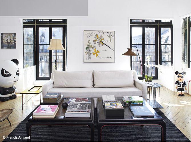 Un salon décoré par la décoratrice d'intérieur Sarah Lavoine #salon #deco #blanc