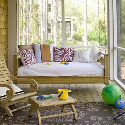 I would love this on my porch: Porch Swings, Outdoor Living, Laid Back Porch, Patio, Beach, Porch Ideas, Screened Porches