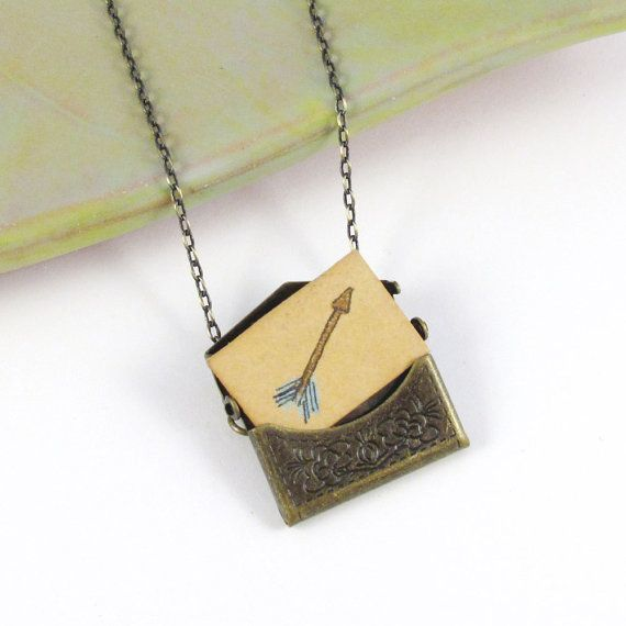 Love Letter Envelope Locket With Miniature Arrow by sugarcookie