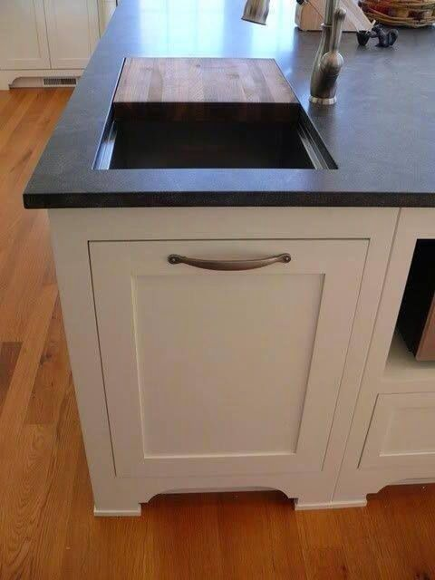 My PERFECT DREAM Kitchen  Cutting Board Opening To Compost Bin/trash Can