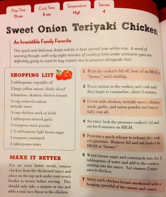TASTE OF HAWAII: SWEET ONION TERIYAKI CHICKEN - PRESSURE COOKER RECIPE