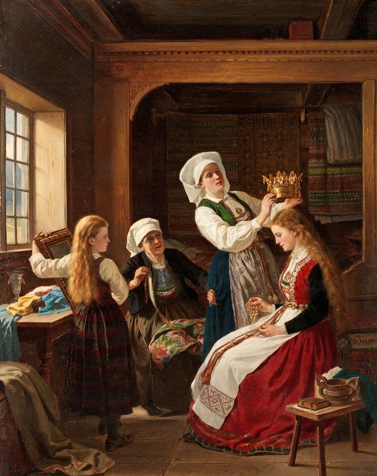 Adolph Tidemand (Norway, 1814-1876) — Brudepynting,1870 (2378×3000)