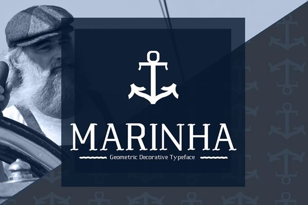 Marinha is a nautical themed font. This geometric decorative typeface was created by Ângela Torres.