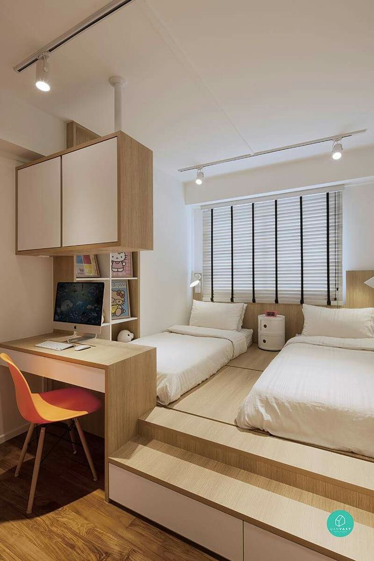 Bedroom table designs - Platform Bed With Study Table Can Act As Divider To Next Room