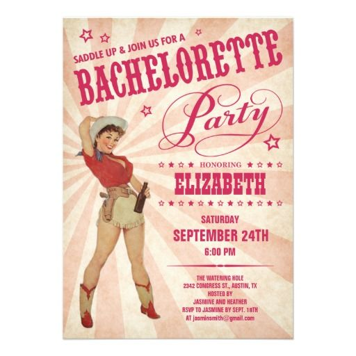 Cowgirl #Bachelorette Party Invitations