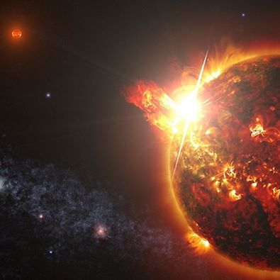 Mega Flares from a Mini Star: On April 23, our Swift satellite detected the strongest, hottest, and longest-lasting sequence of stellar flares ever seen from a nearby red dwarf star. The initial blast from this record-setting series of explosions was as much as 10,000 times more powerful than the largest solar flare ever recorded. DG CVn, a binary consisting of two red dwarf stars shown here in an artist's rendering, unleashed a series of powerful flares seen by Swift.