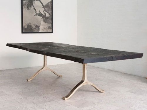 Dining table bronze wishbone leg and wood slab top wood  : c51af33590b4e18f464cfd9a2b0abb11 from www.pinterest.com size 500 x 375 jpeg 20kB
