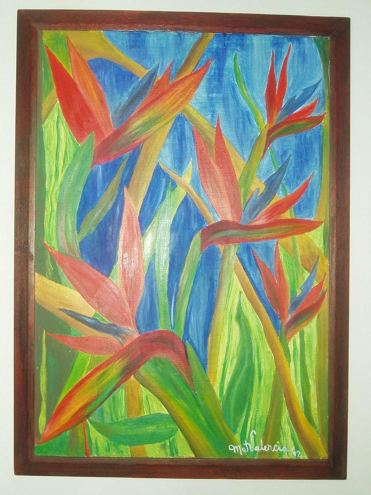 Heliconias- óleo sobre lienzo