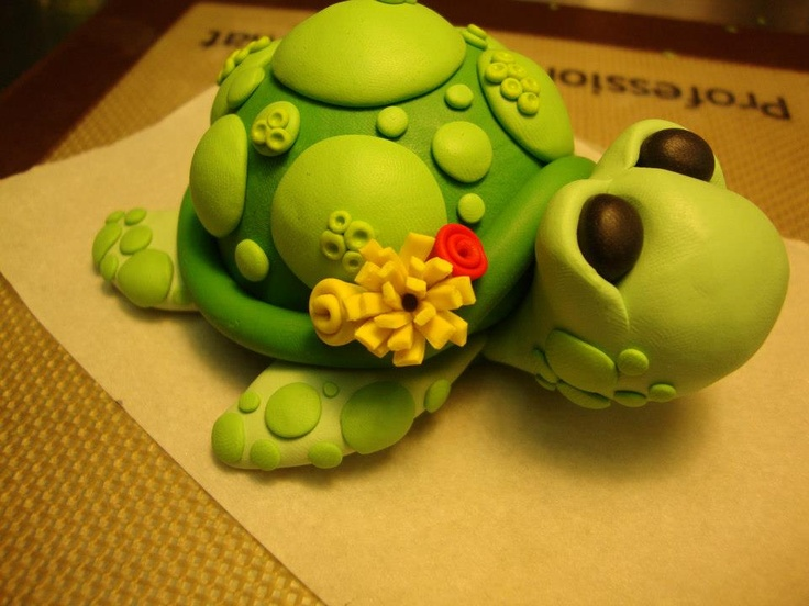 my polymer clay turtle tutorial. :) | Cake Toppers by ...