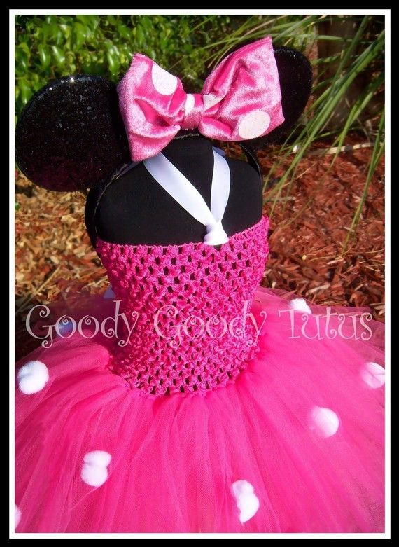LITTLE MISS MINNIE Pink Crocheted Tutu Dress and Mouse Ears with Plush Bow 6-24mos. $50.00, via Etsy.