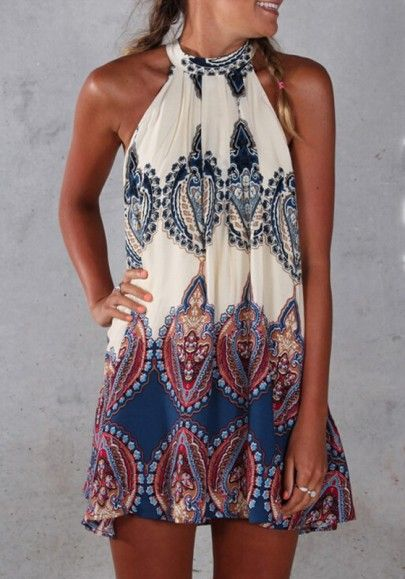 Blue Floral Print Round Neck Sleeveless Vintage Mini Dress