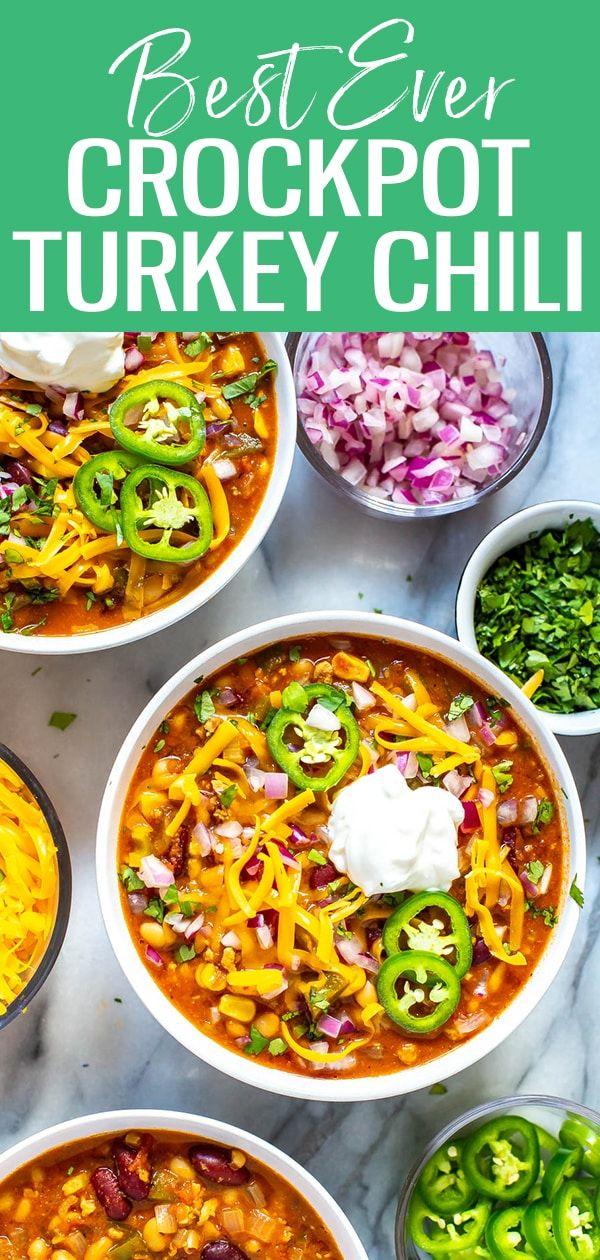Best Ever Slow Cooker Turkey Chili The Girl On Bloor Slow Cooker Turkey Chili Slow Cooker Turkey Chilli Chili Recipe Turkey