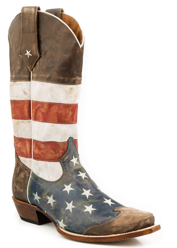 Roper Mens Cowboy Boots American Flag Distressed